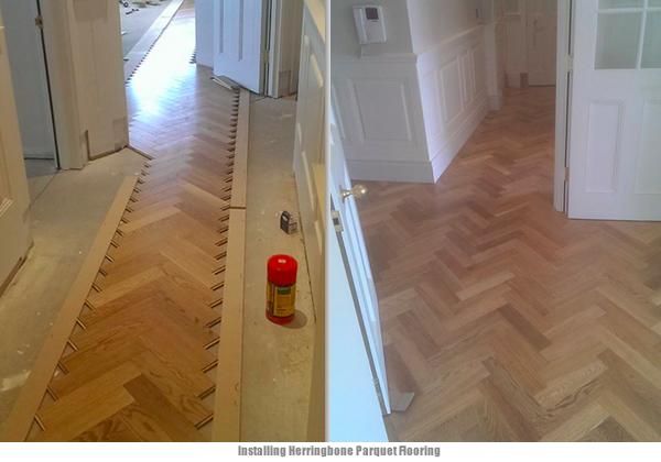 Herringbone and chevron parquet wooden flooring for Chevron laminate flooring